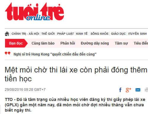 Tuoi Tre Newspaper: Tired of waiting for a driving test, I have to pay more for school