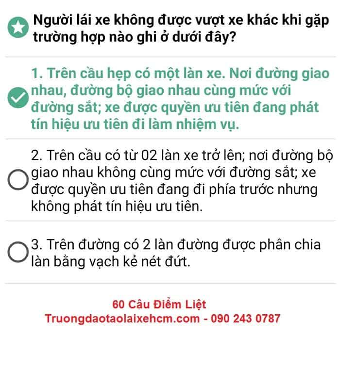 60 Câu Hỏi Điểm Liệt Thi Lý Thuyết Bằng Lái Xe [Đầy Đủ Đáp Án] 17